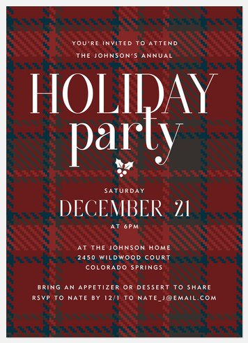 Festive Flannel Holiday Party Invitations