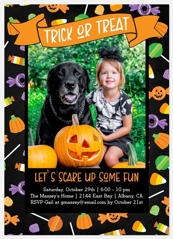 Confetti Treats Halloween Photo Cards