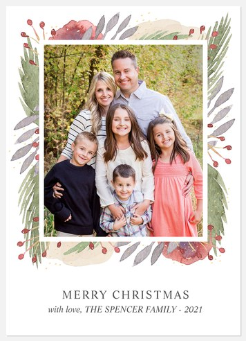 Painted Florals Holiday Photo Cards
