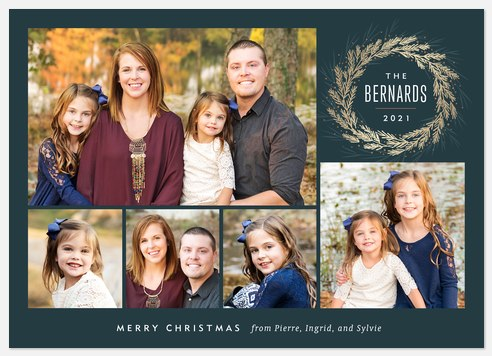 Glistened Wreath Holiday Photo Cards