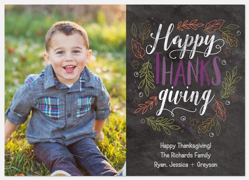 Fall Sidewalk Chalk Thanksgiving Cards