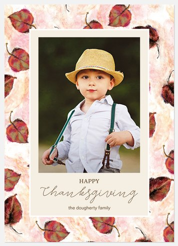 Leafy Cascade Thanksgiving Cards