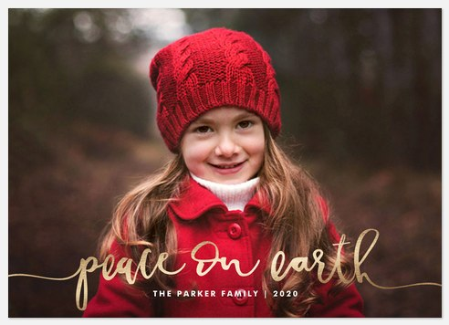 Peace Script Holiday Photo Cards