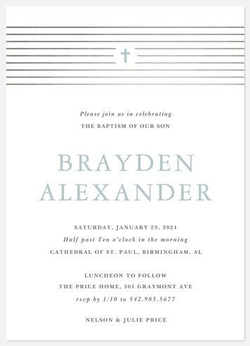 Modern Stripes Baptism Christening Invitations