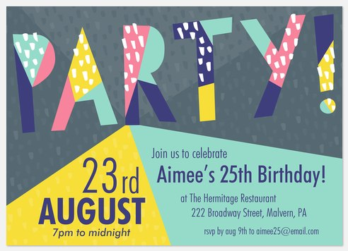 Geo Mod  Adult Birthday Invitations