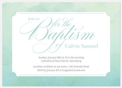 Aquarelle Frame Baptism Christening Invitations