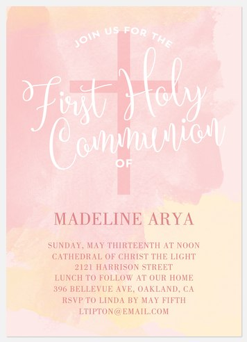 Graceful Watercolor First Communion Invitations