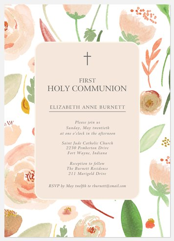 Flora Blessing First Communion Invitations