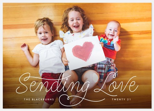 Curled Sentiment Valentine Photo Cards