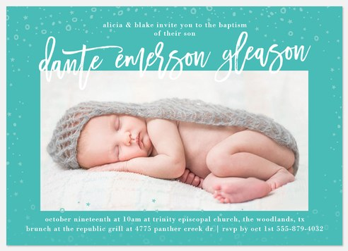 Starry Cascade Baptism Christening Invitations