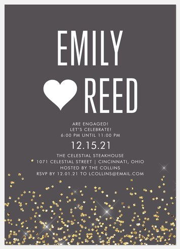 Glitter Cascade Engagement Party Invitations