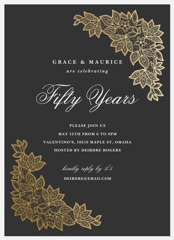 Vintage Embellishment Anniversary Invitations