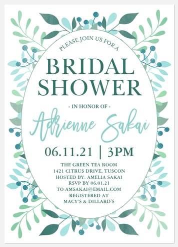 Botanical Frame Bridal Shower Invitations