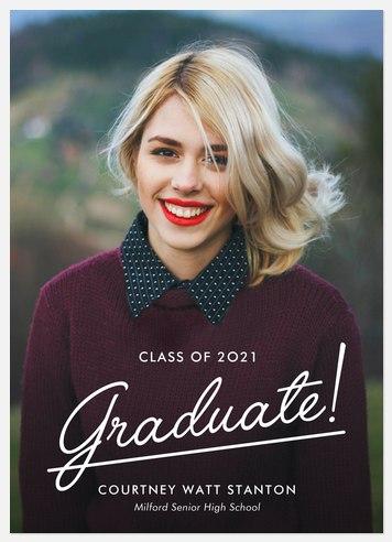 Varsity Script Graduation Cards