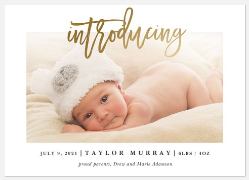Bright Introduction Baby Birth Announcements