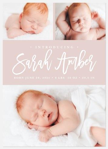 Modern Trio Baby Birth Announcements