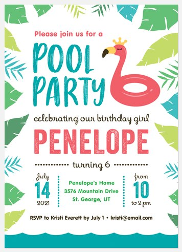 Tropical Flamingo Kids' Birthday Invitations