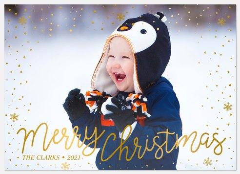 Gilded Snowfall Holiday Photo Cards