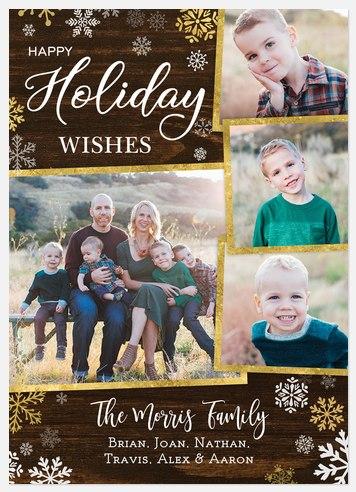 Rustic Snowfall Holiday Photo Cards