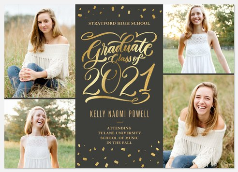 Confetti Flourish Graduation Cards