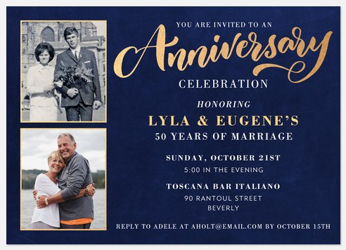 Gilded Anniversary Anniversary Invitations