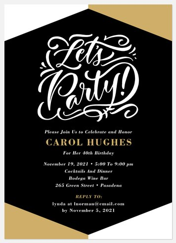 Modern Colorblock Adult Birthday Invitations
