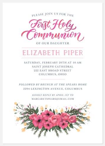 Communion Garland First Communion Invitations