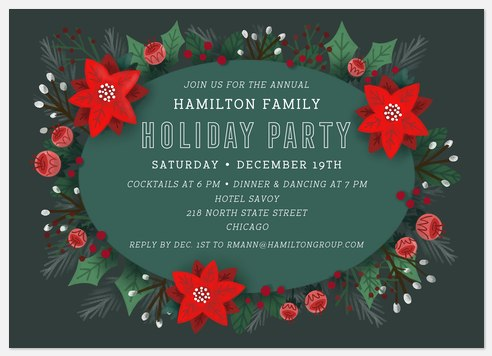 Festive Blooms Holiday Party Invitations