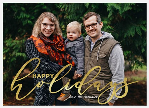 Fanciful Lettering Holiday Photo Cards