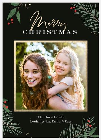 Elegant Pine Holiday Photo Cards