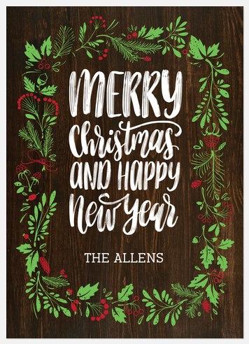 Festive Laurel Holiday Photo Cards