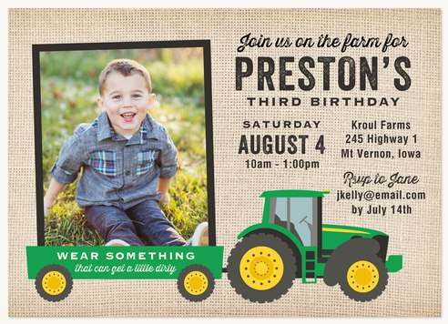 Kids Birthday Invitations Country Tractor