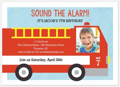 Sound the Alarm Kids' Birthday Invitations