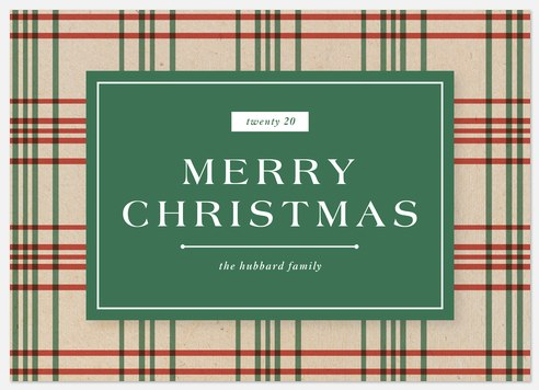 Rustic Plaid Holiday Photo Cards