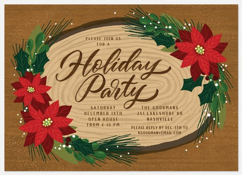 Rustic Poinsettias Holiday Party Invitations