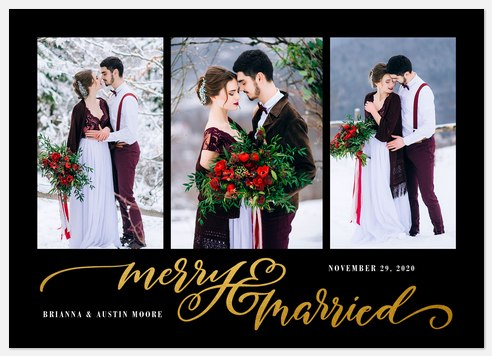 Gilded Married Holiday Photo Cards