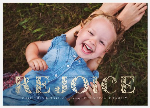 Etched Rejoice Holiday Photo Cards