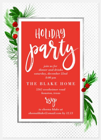 Modern Mistletoe Holiday Party Invitations