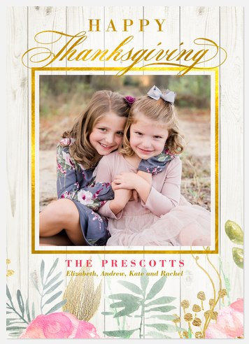 Picket Fence Floral Thanksgiving Cards