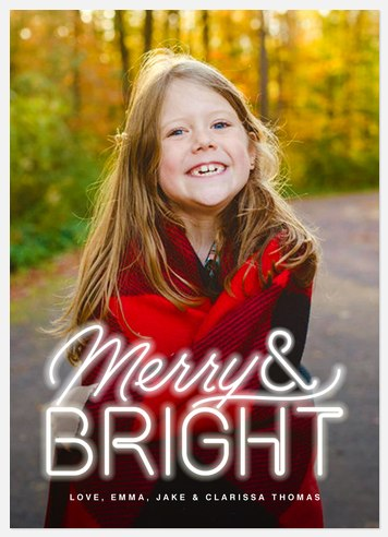 Neon Sign Holiday Photo Cards