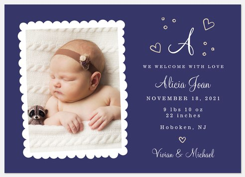 Welcomed with Love Baby Birth Announcements