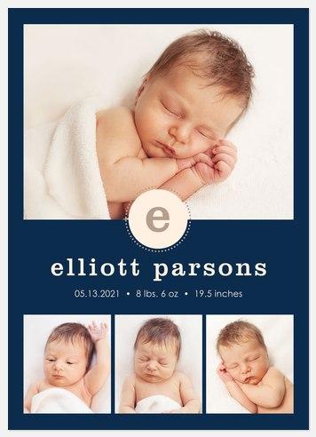 Newborn Initial Baby Birth Announcements