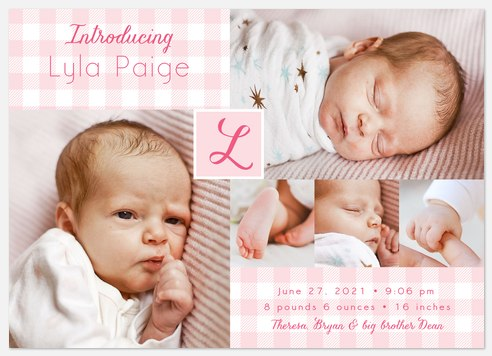 Gingham Flannel Baby Birth Announcements