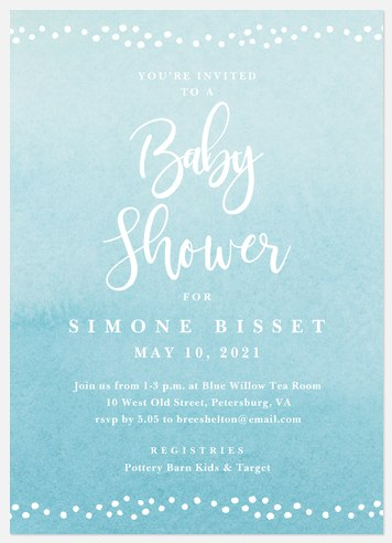 Watercolor Wash Baby Shower Invitations