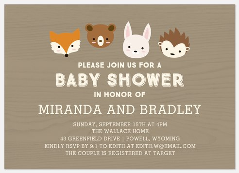 Sweet Creatures Baby Shower Invitations