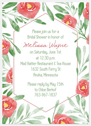 Rosey Garden Bridal Shower Invitations