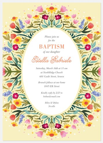 Folk Wreath Baptism Christening Invitations