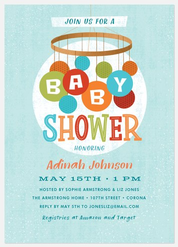 Mid Century Mobile Baby Shower Invitations