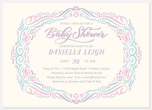 Vintage Oval Baby Shower Invitations