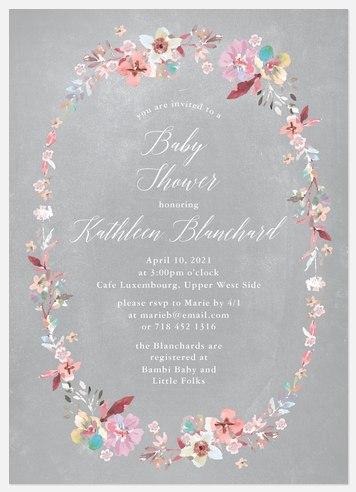 Posie Border Baby Shower Invitations
